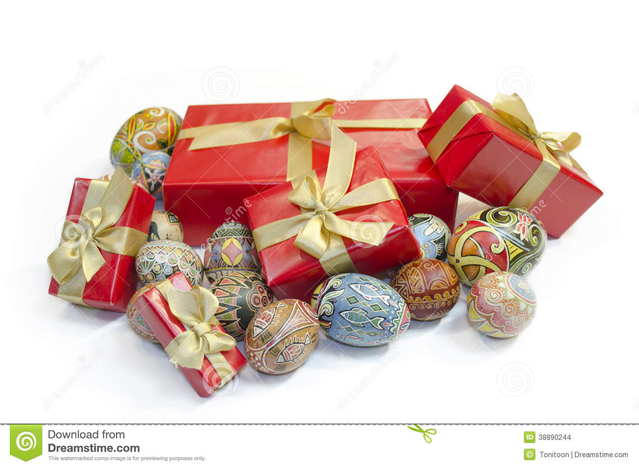 Easter Eggs And Gifts Boxes Stock Photo Image 38890244