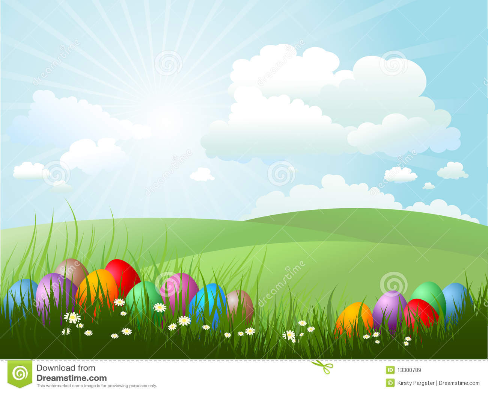 Easter Eggs In Grass Stock Vector. Illustration Of