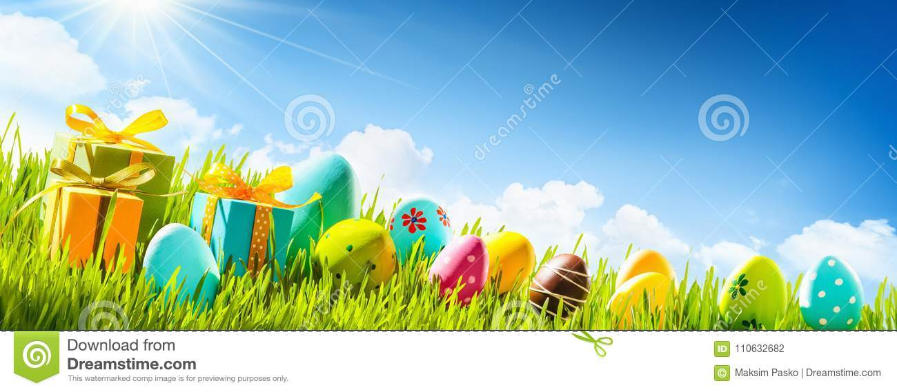 Easter Eggs With Green Grass and Sun