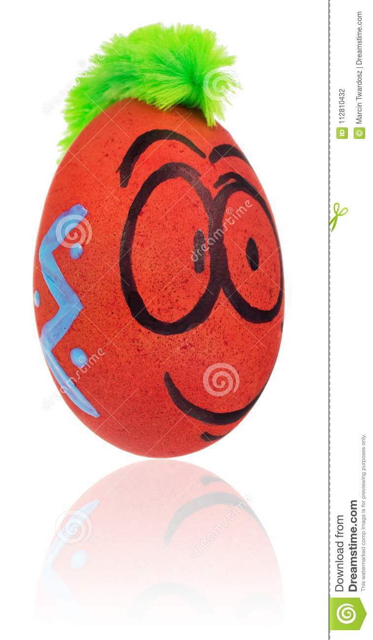 Easter Egg, Painted In Smiling Cartoon Face Of Guy. Decorated Egg ...