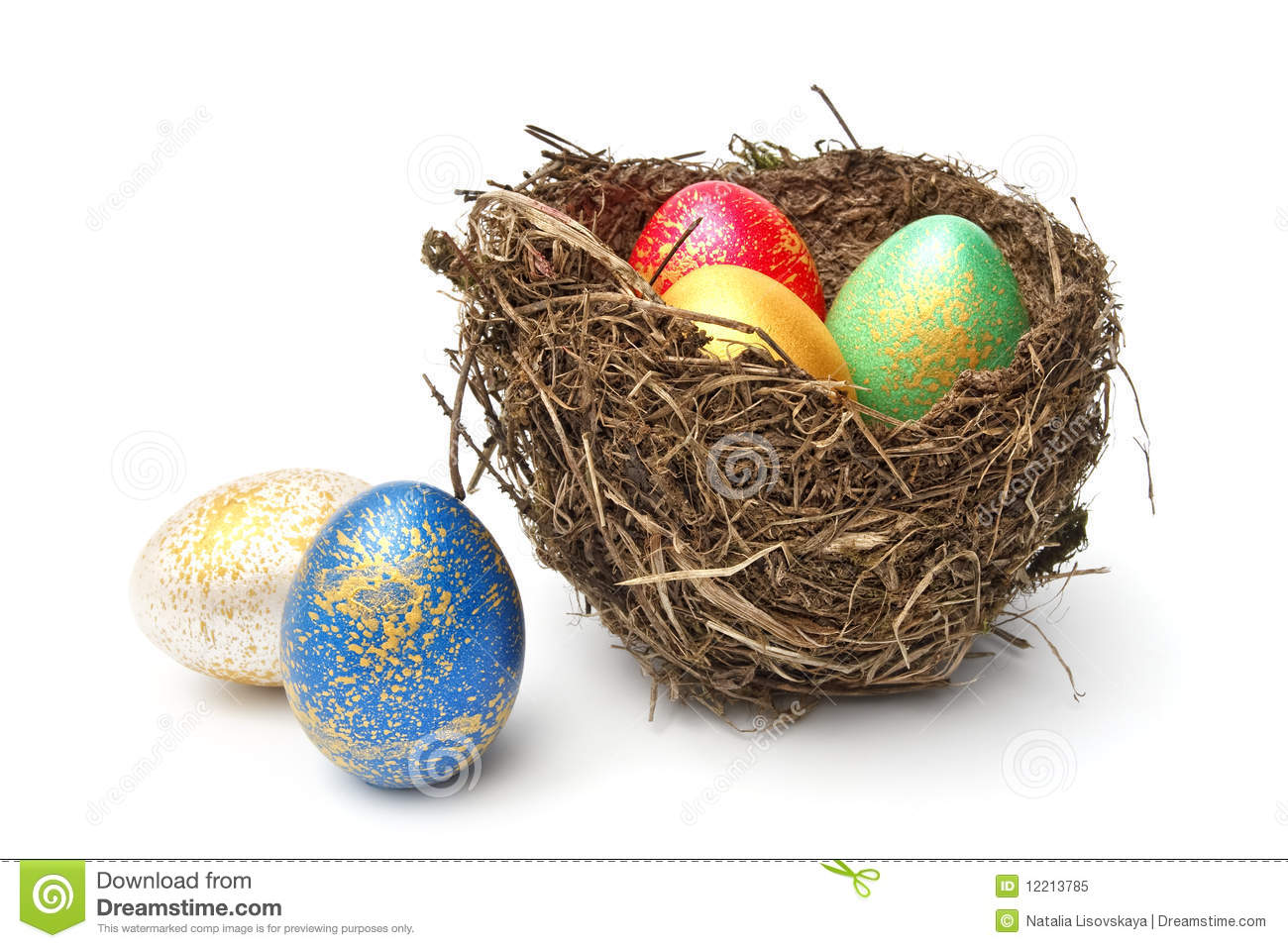 Easter Eggs In Nest Royalty Free Stock Photo - Image: 12213785