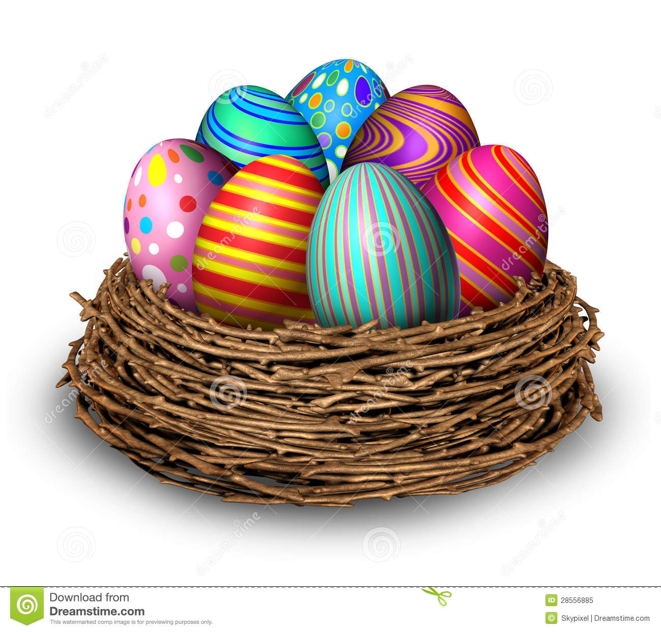 Easter eggs nest holiday symbol decoration with seven colored festive ...