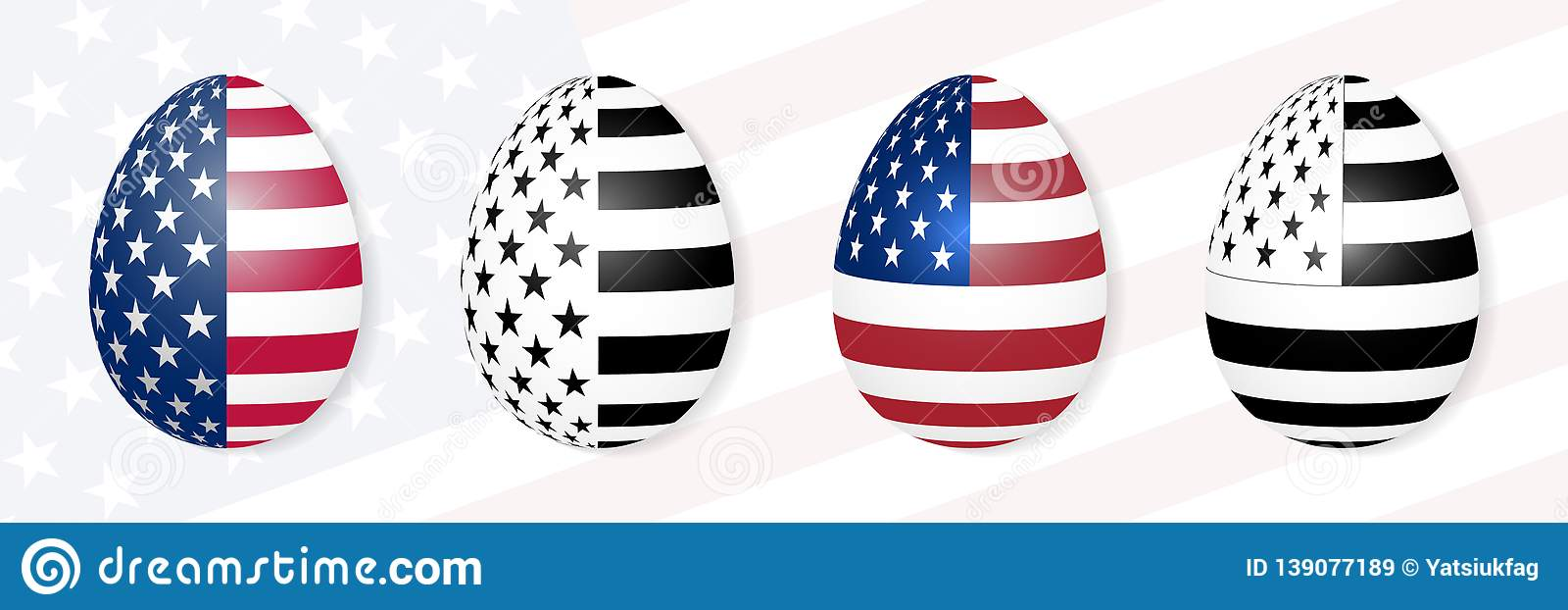 Easter Eggs On The Background Of The USA Flag. Stock Vector