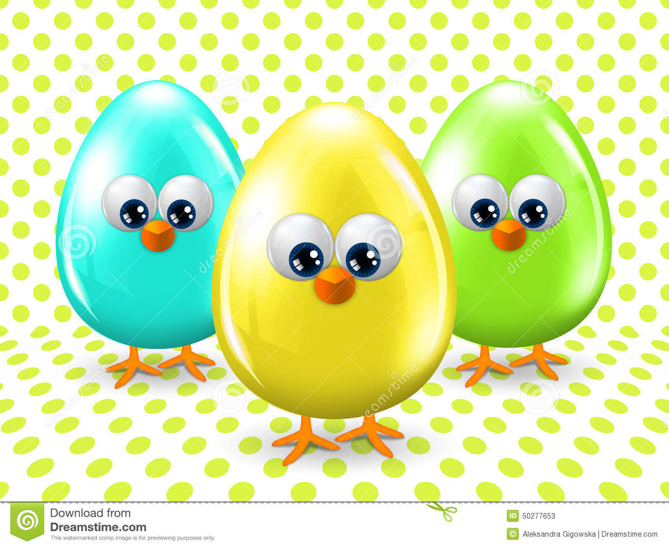 Easter Eggs Over Dotted Background Royalty-Free Stock
