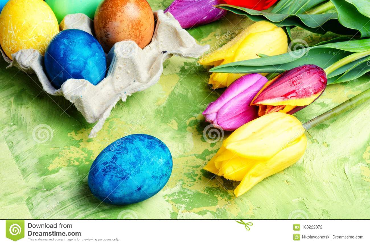 Easter Eggs Paint And Tulips Stock Photo Image Of Season Spring