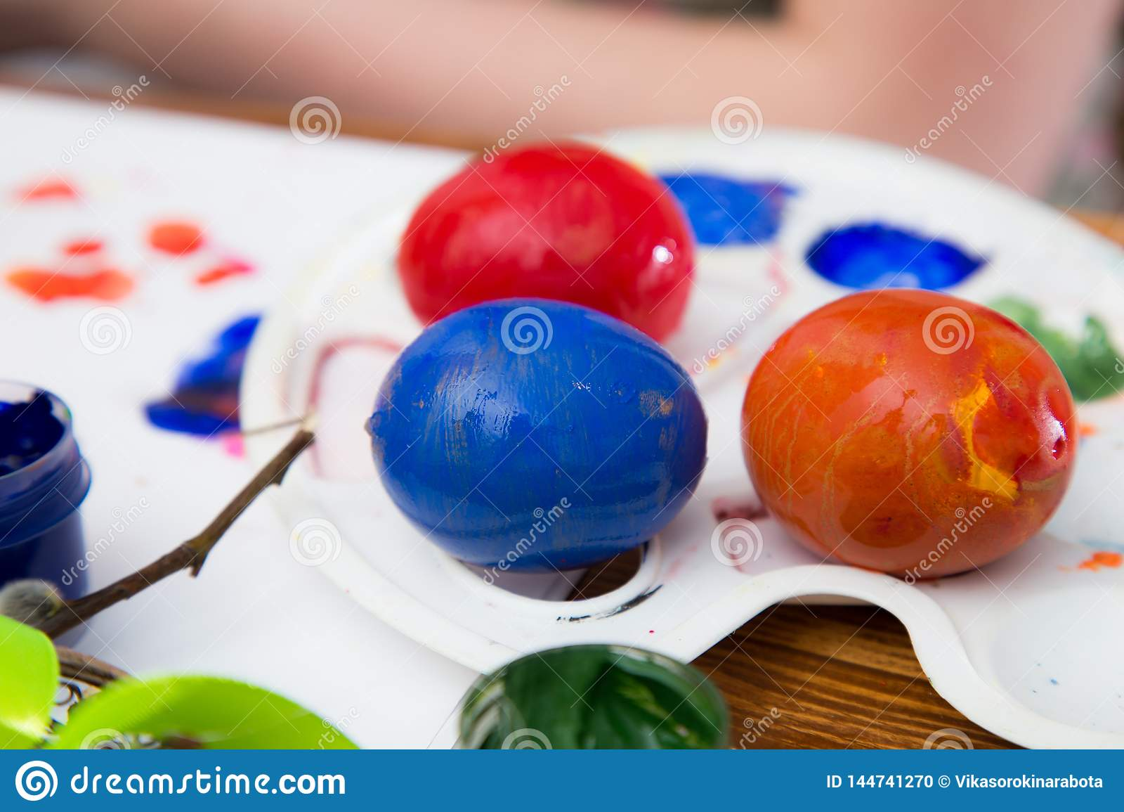 Easter eggs painted with bright paint