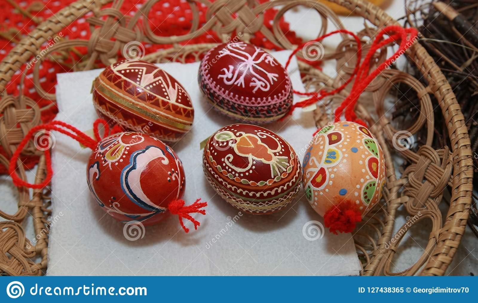 Easter Eggs Painted With Bulgarian Traditional Sy Stock Image