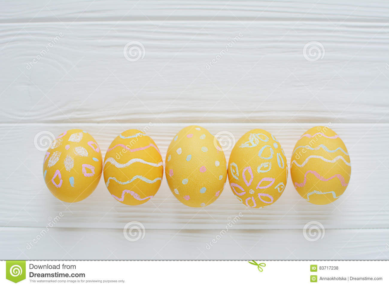 Easter Eggs Painted In Pastel Colors Stock Photo