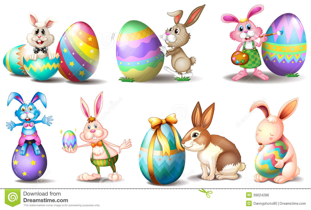 easter eggs with playful bunnies stock vector
