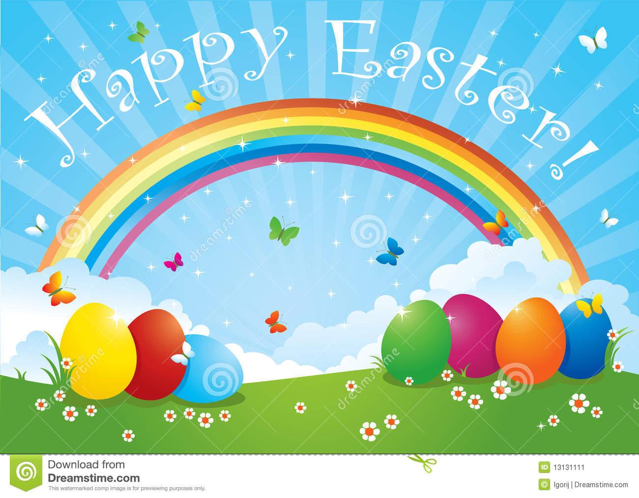 Easter eggs in rainbow colors stock image image 13131111 - What are the easter colors ...