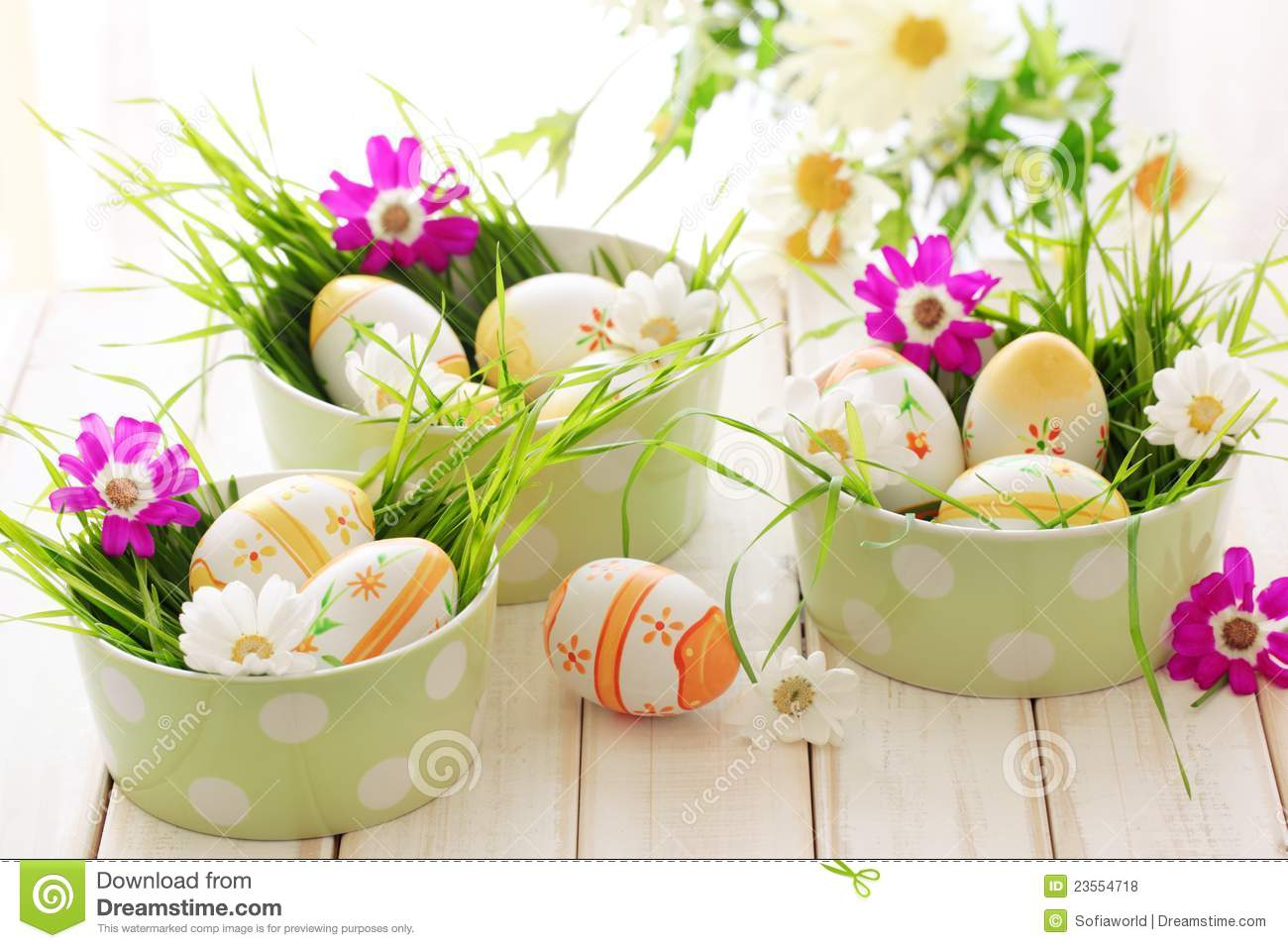 Easter Eggs With Spring Flowers Stock Photo Image Of Painted
