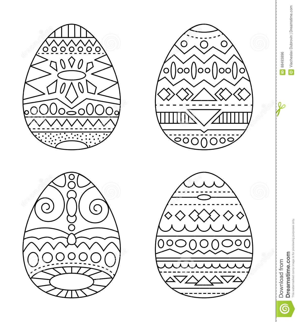 easter eggs with tribal ornament coloring page black and white