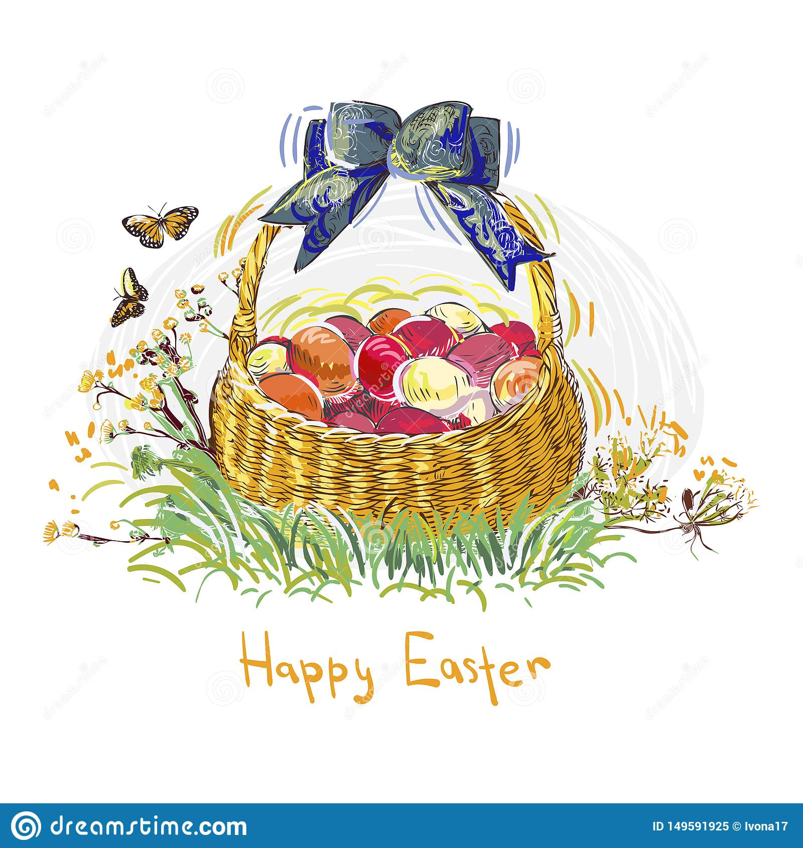 Easter eggs vector paint style design flower colorful basket