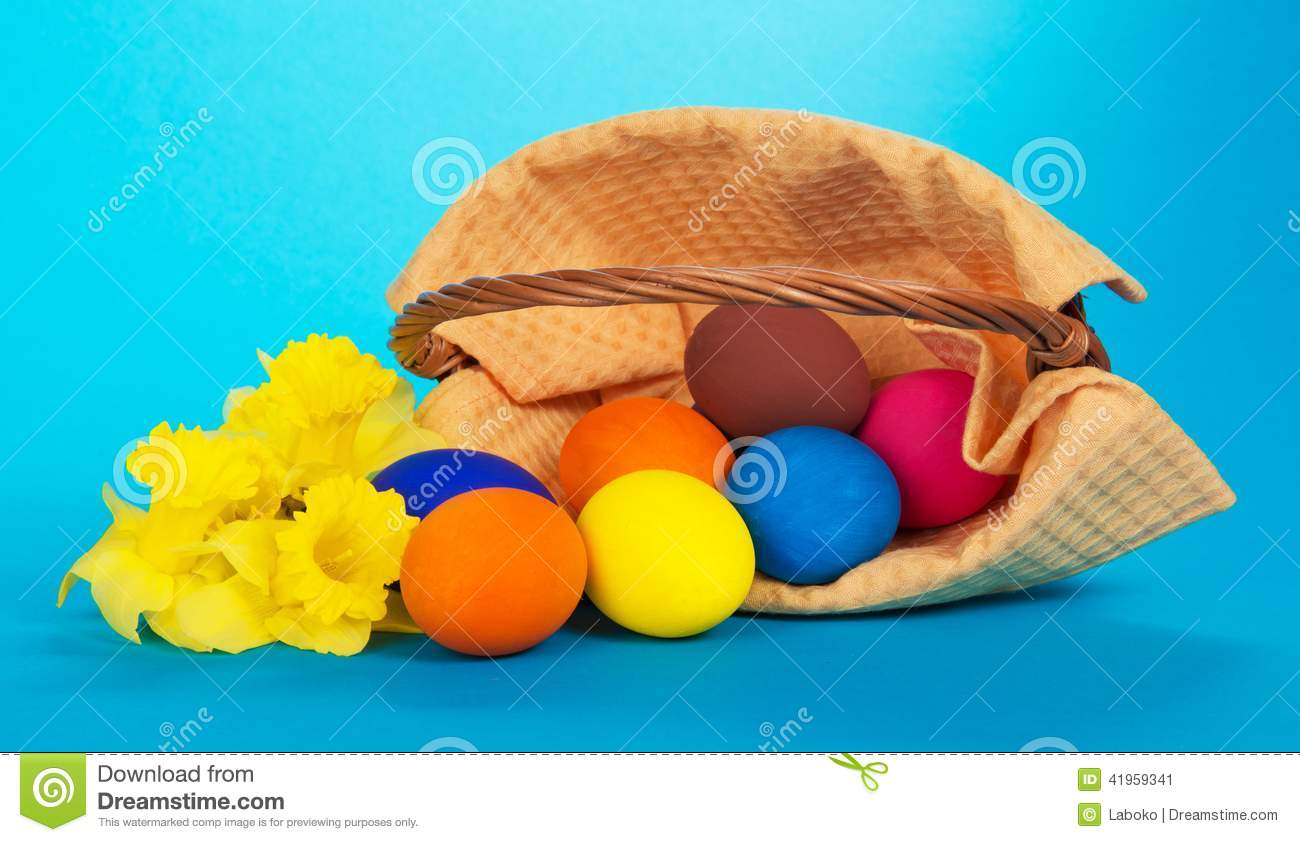 The Easter eggs which have dropped and flowers