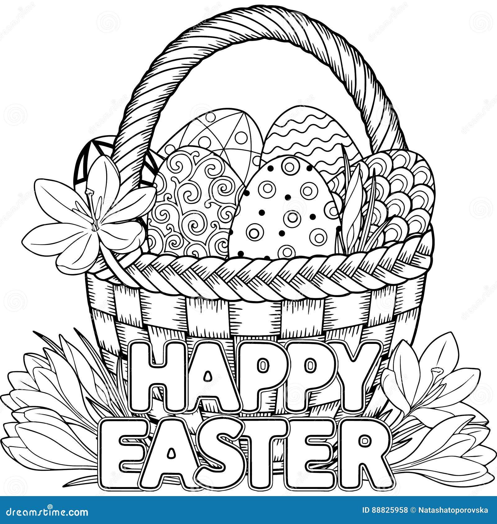 Easter Feliz Ovos Da Pascoa Preto E Branco Da Garatuja Na Cesta O