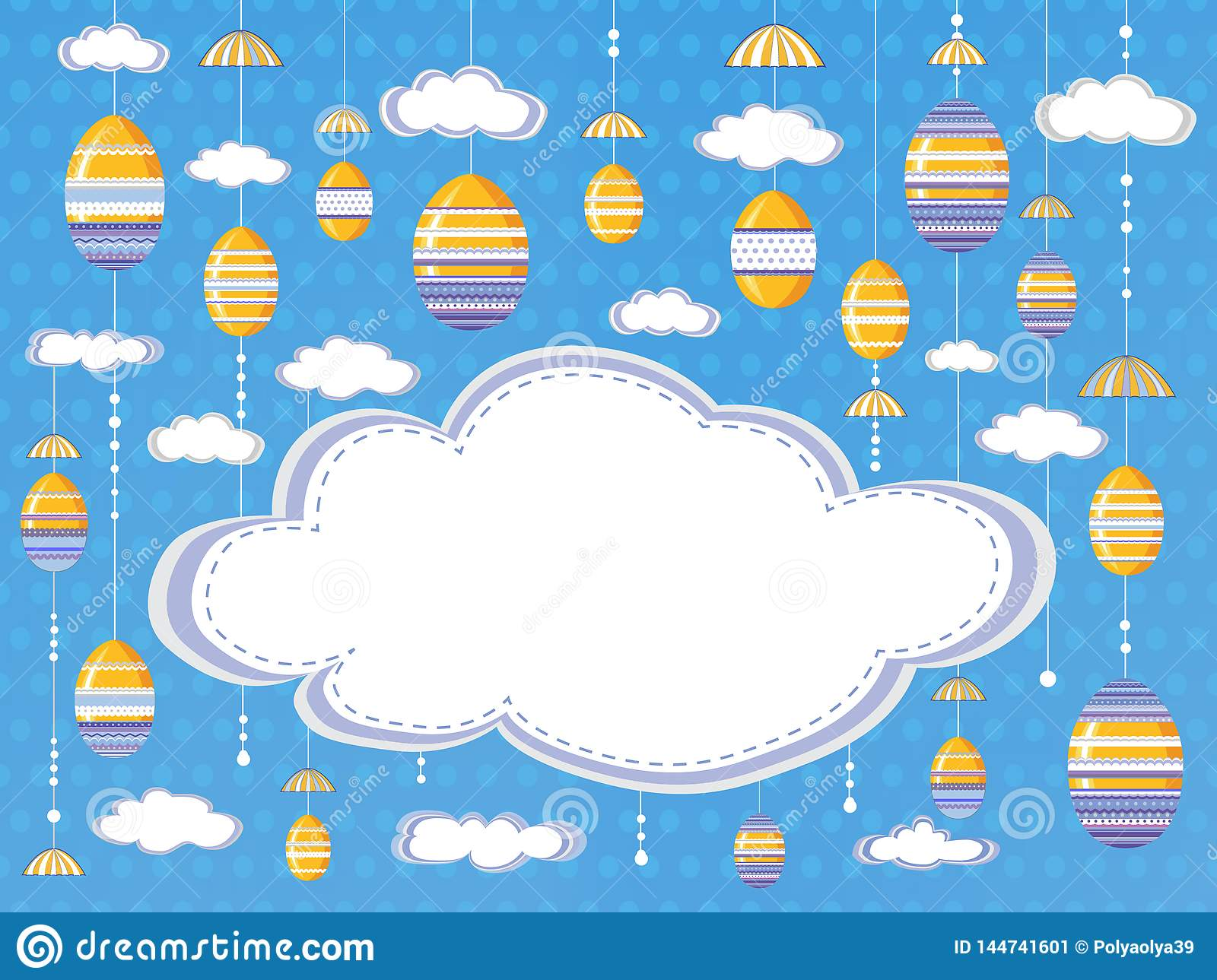 Easter festive background or poster with clouds and hanging decorative  eggs  on the sky background with empty space for text