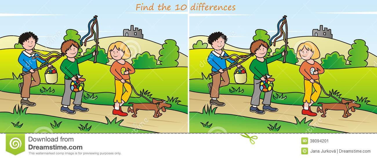 Game for children and adults a 10 differences easter theme