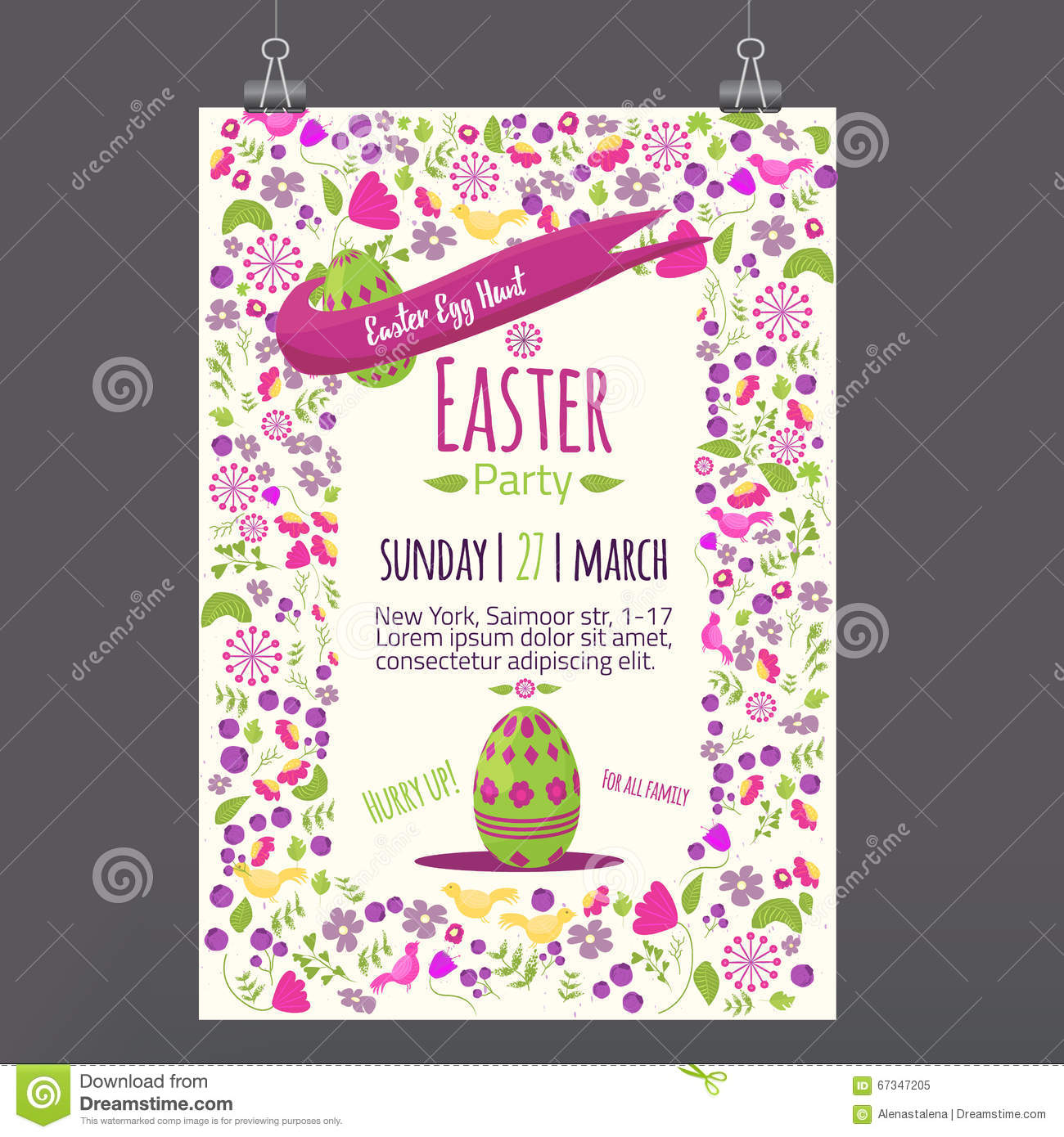 Easter Floral Invitation With Colorful Eggs On White Background Can