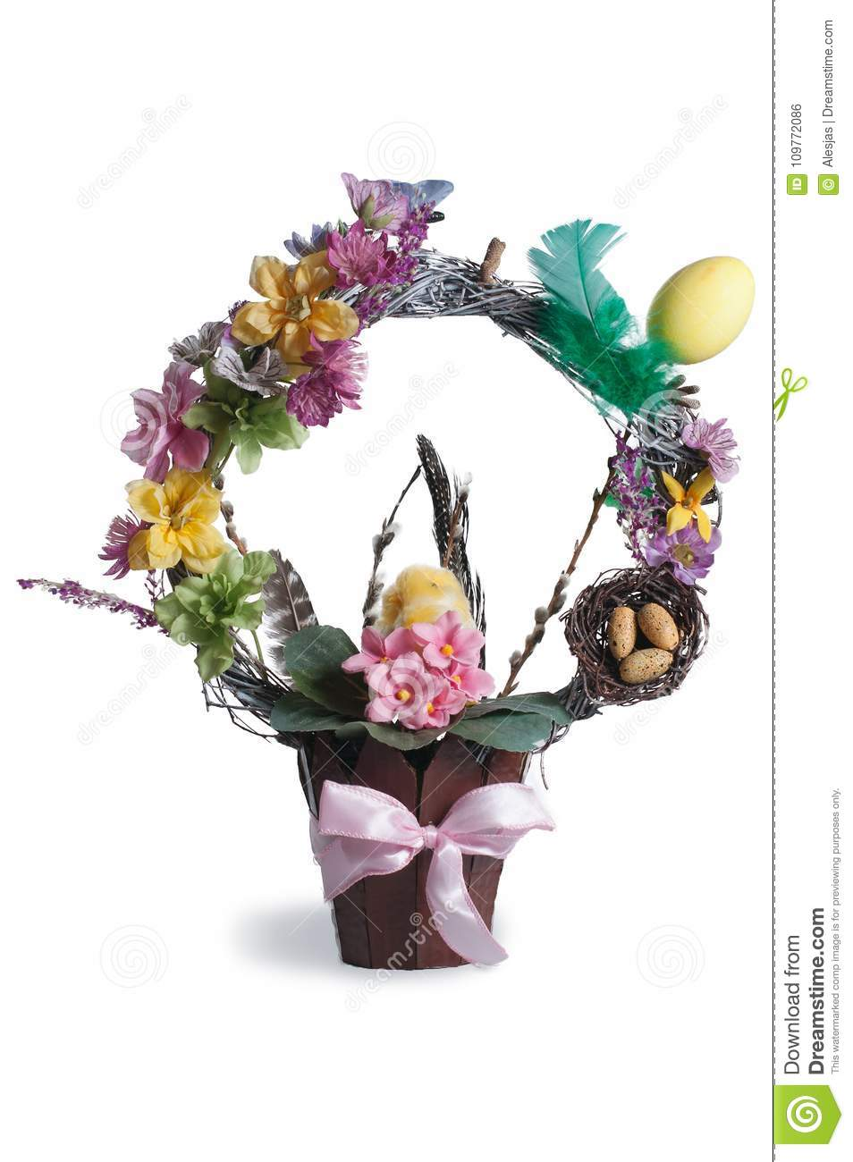 Easter Floral Topiary With A Bird And A Nest Over White Background Stock Photo Image Of Craft Concept 109772086