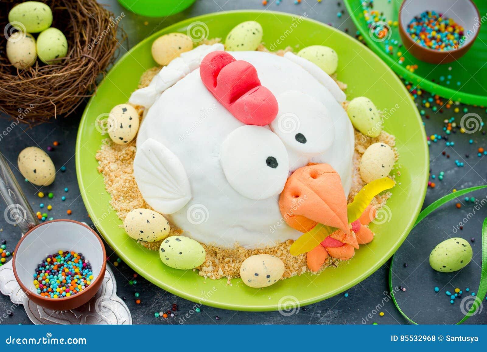 Easter fondant cake shaped chicken , delicious dessert on Easter