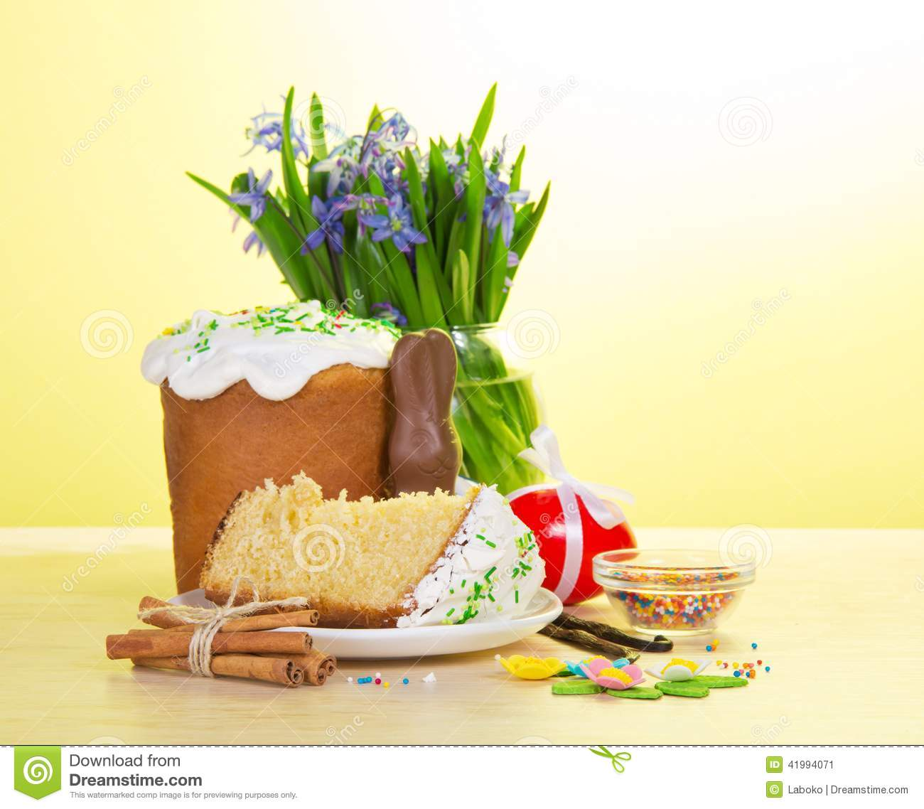 Dreamstime.com & Easter Food And Vase With The Flowers On A Table Stock Image ...