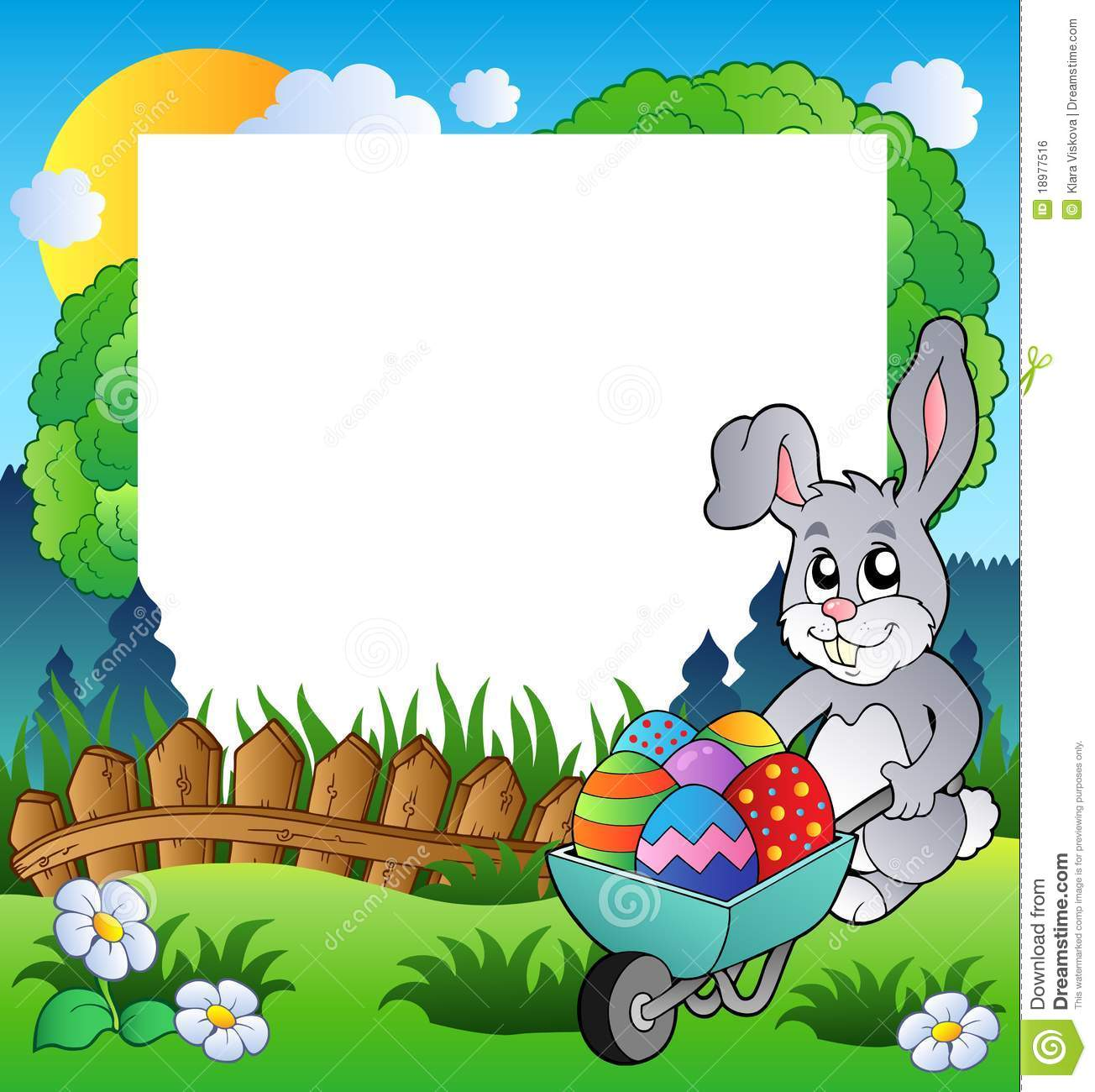 Easter Frame With Bunny And Barrow Stock Vector - Illustration of ...