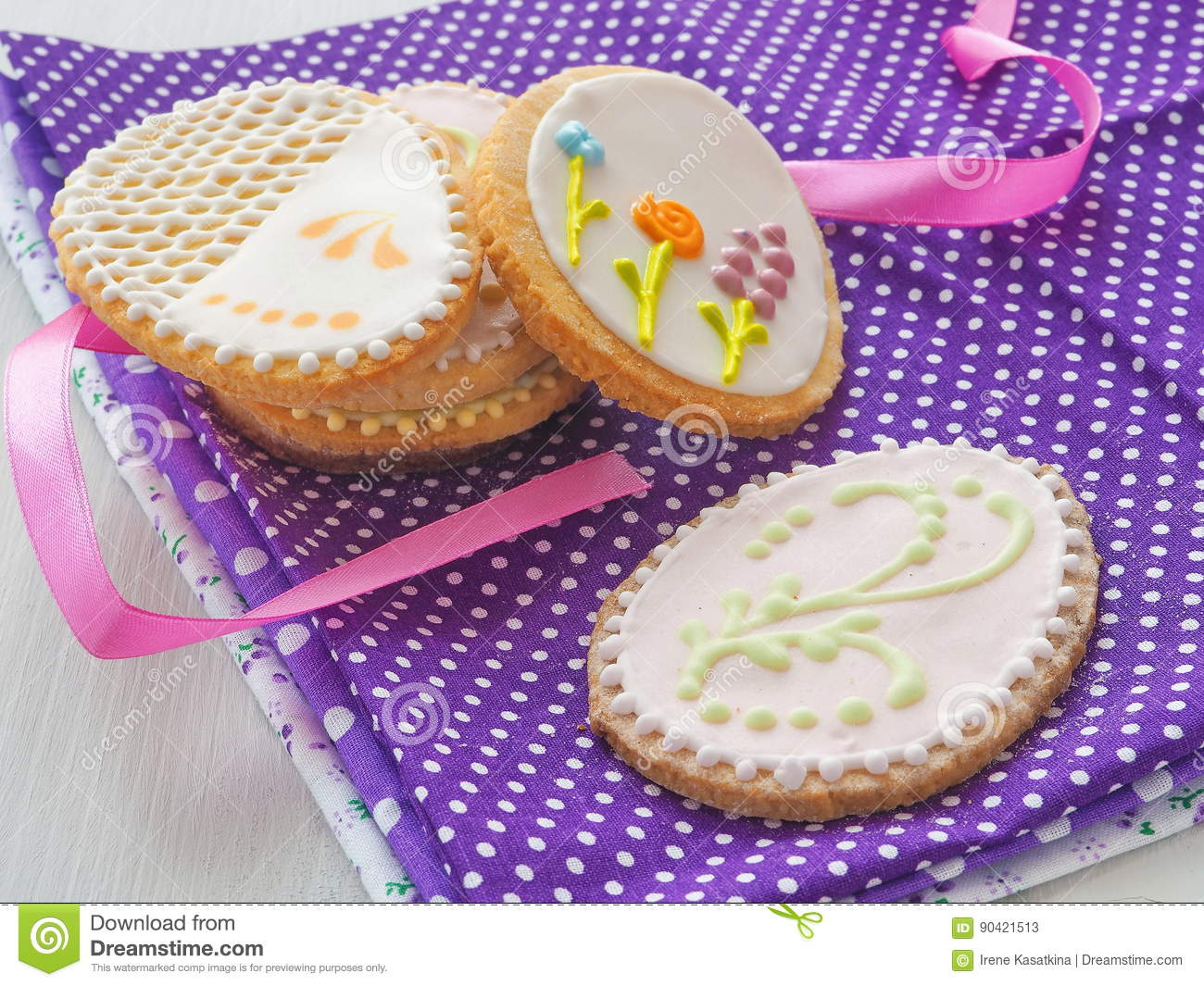Easter gift homemade sugar cookies with floral ornament royalty free stock photo negle Gallery