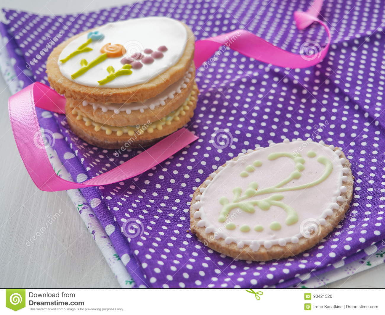 Easter gift homemade sugar cookies with floral ornament royalty free stock photo negle Image collections