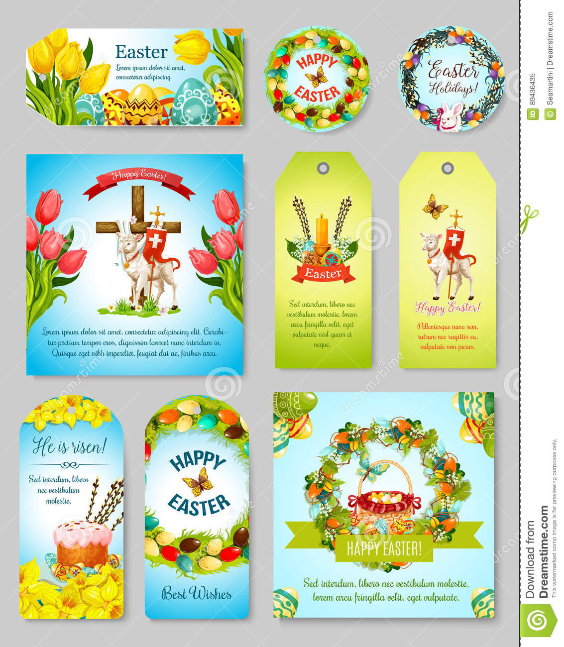 Easter gift tag greeting banner and poster set stock vector easter gift tag greeting banner and poster set royalty free vector negle Image collections