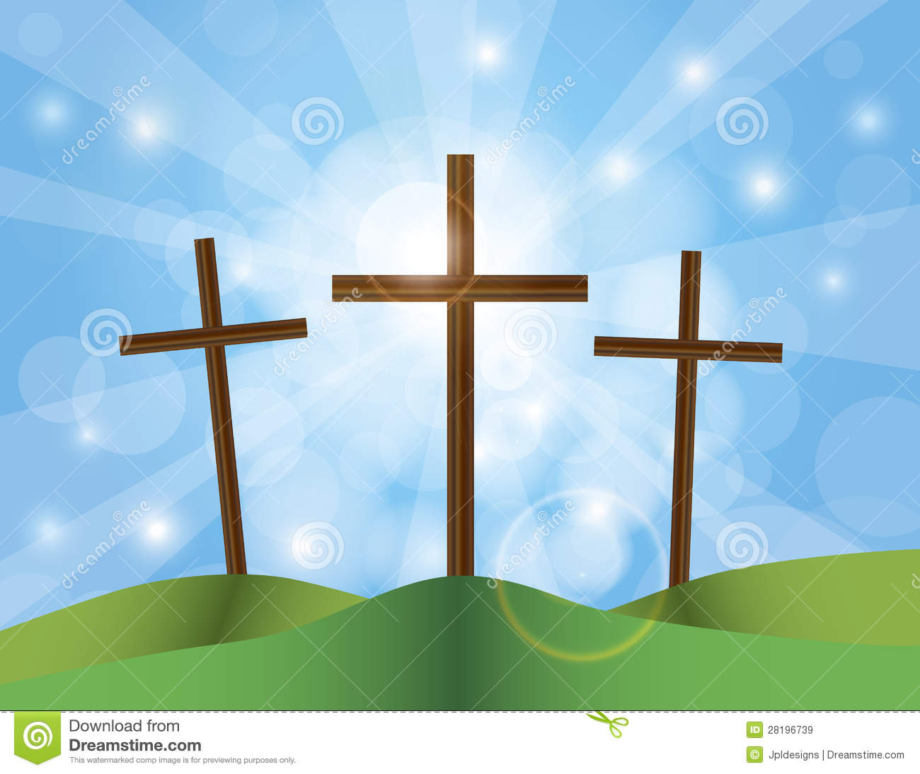 Easter Good Friday Crosses On Blue Sky Background Royalty Free Stock ...