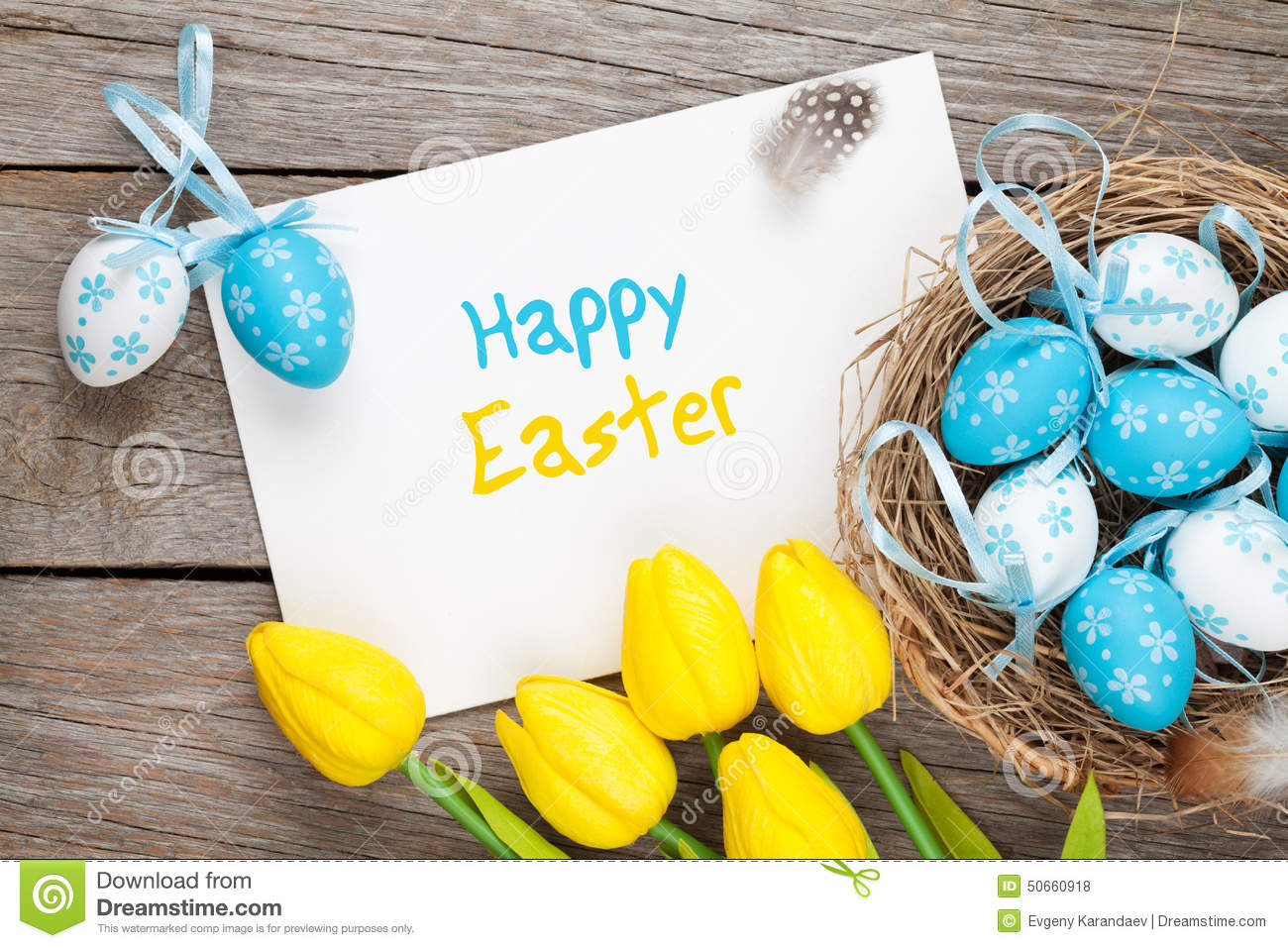 Easter greeting card with blue and white eggs and yellow tulips