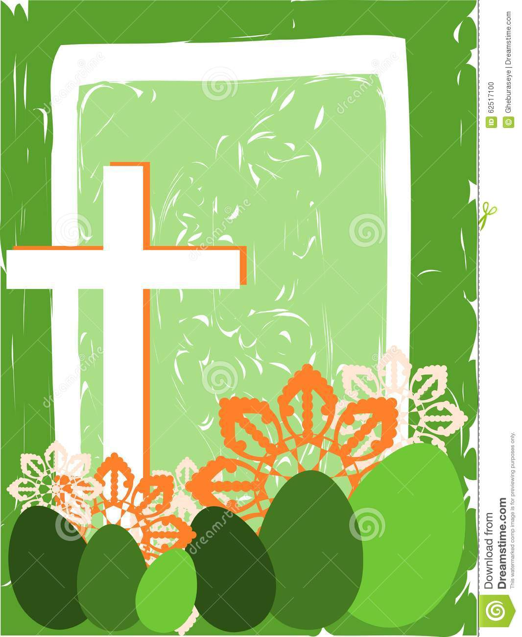 Easter Greeting Card With Cross And Eggs Stock Vector Illustration