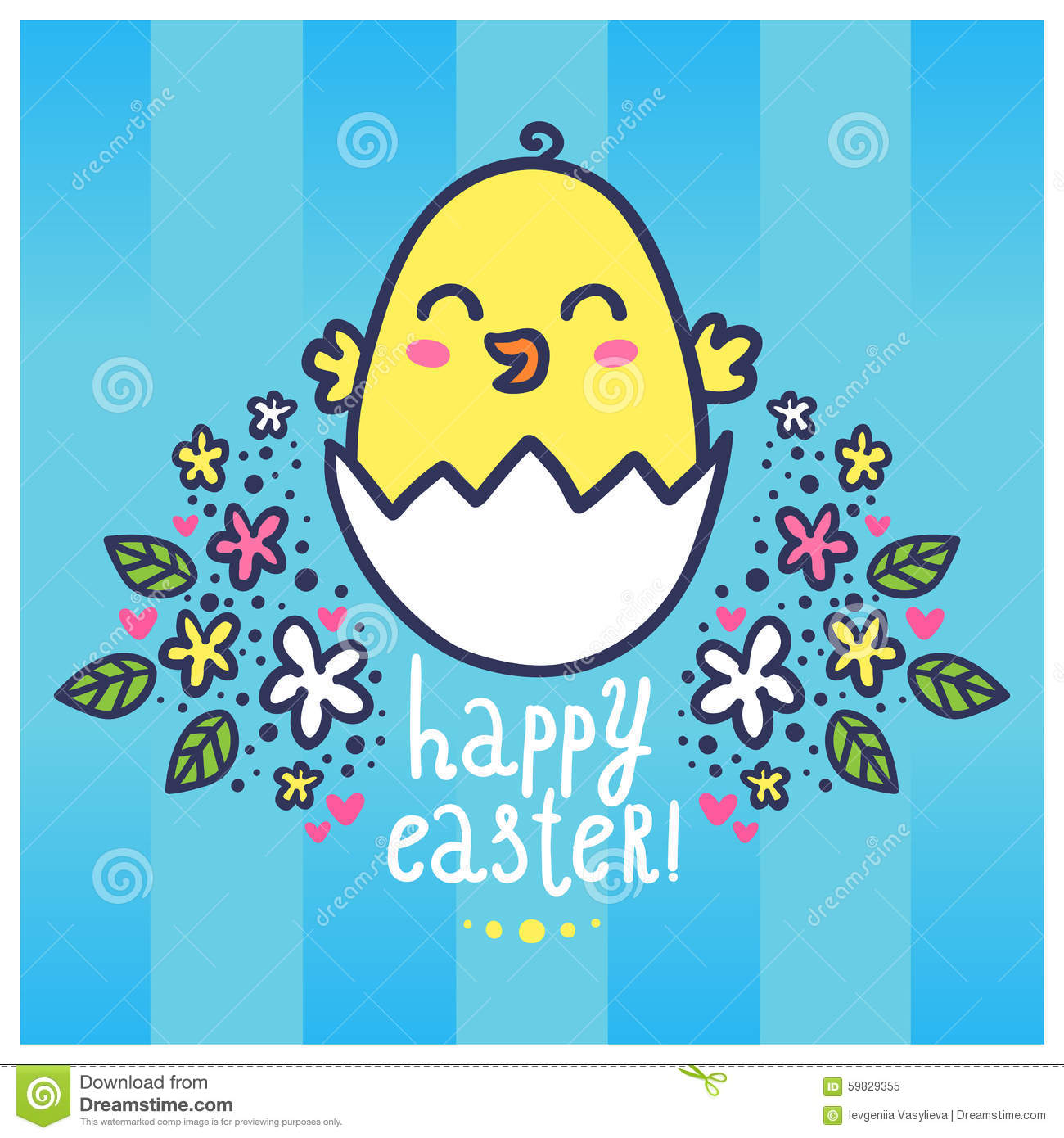 Easter greeting card with a cute chicken in the egg stock vector easter greeting card with a cute chicken in the egg kristyandbryce Gallery