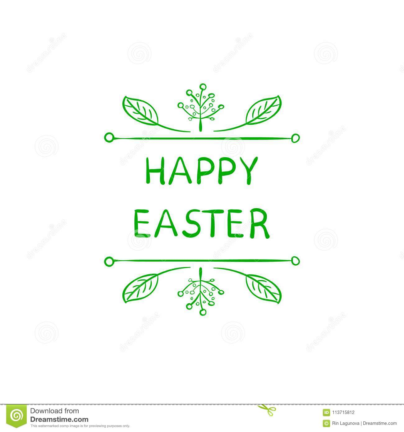 Easter Greeting Card Cute Doodle Floral Frame And Words Happy