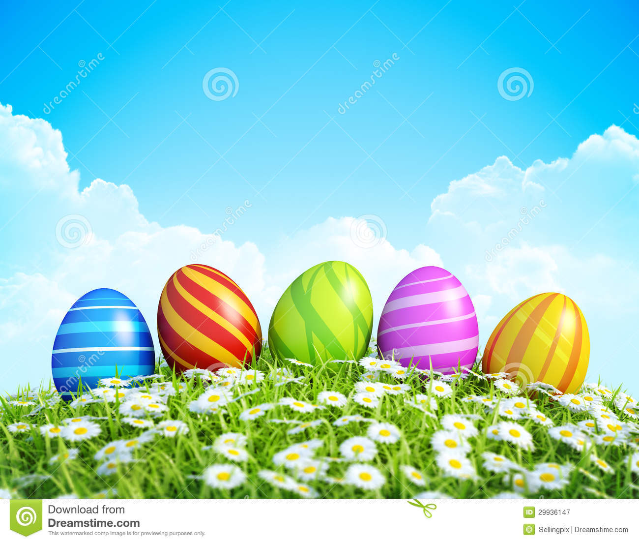 Easter Background With Ornate Easter Eggs On Meadow Stock Image