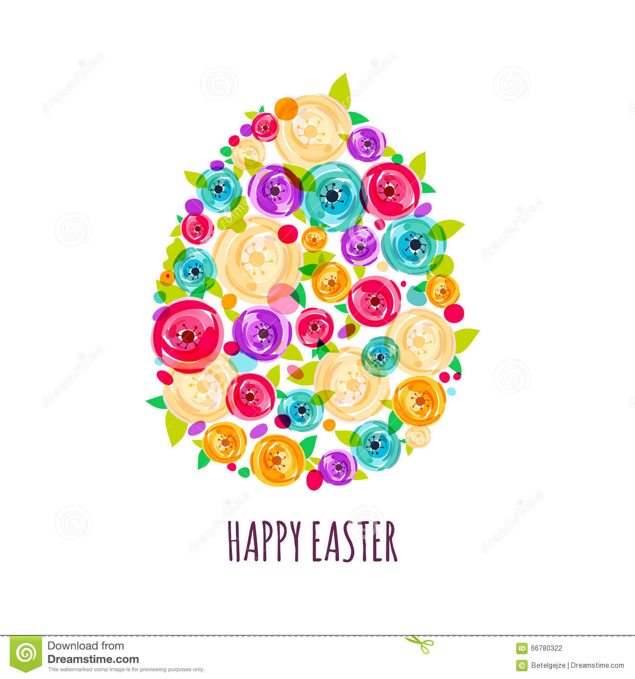 Easter Greeting Card With Egg Made From Colorful Abstract Rose