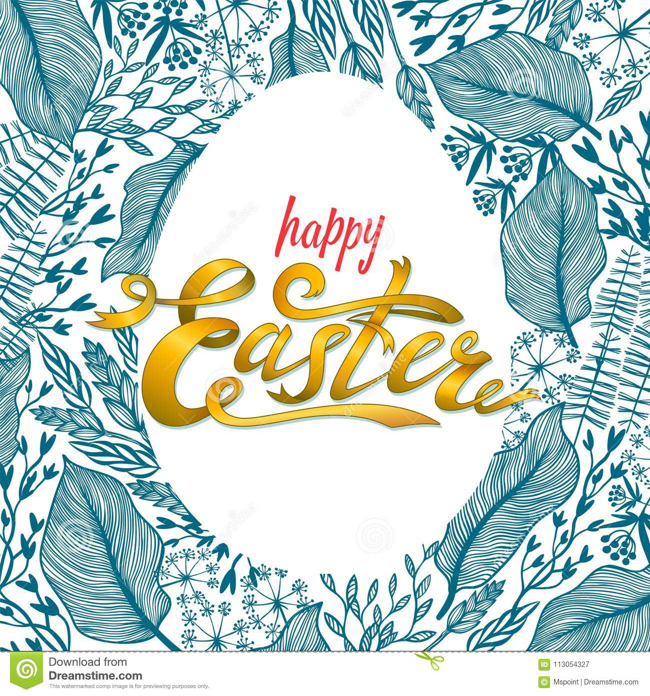 Easter greeting card with floral frame in egg shape. Herbal background. Perfect for season greeting cards and banners.
