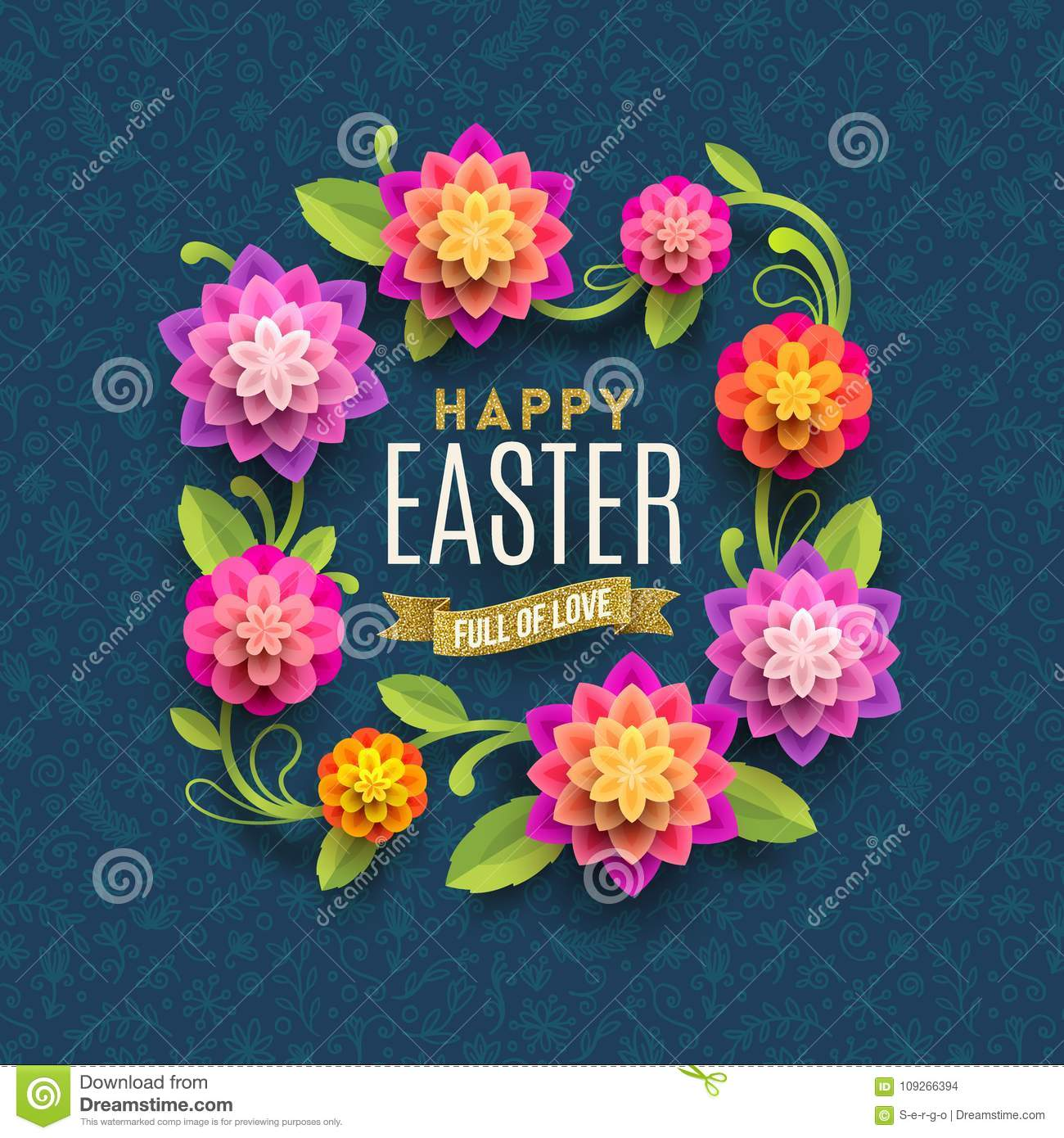 Easter Greeting Card Greeting With Paper Flowers Frame On A Floral