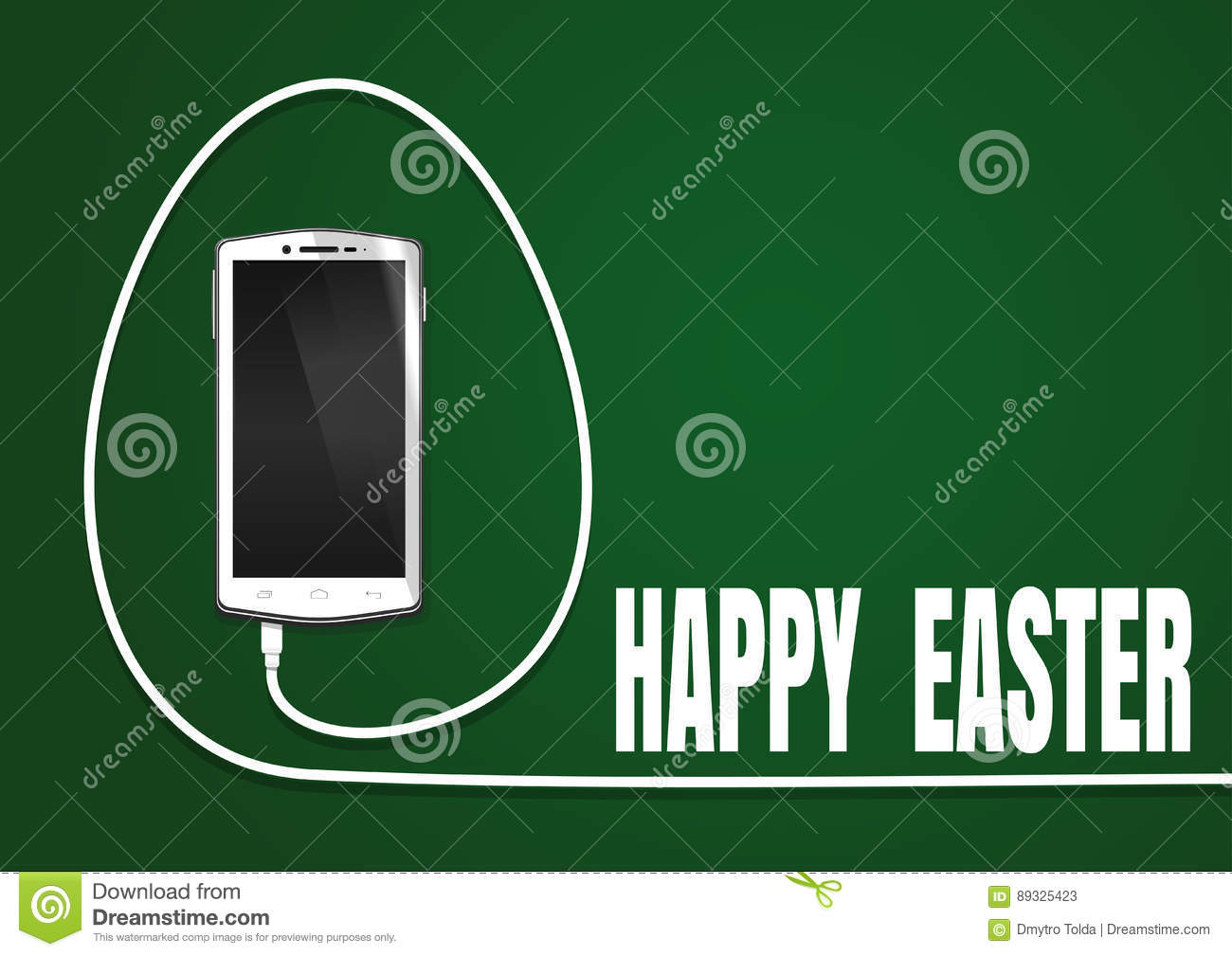 Easter Greeting Card With Realistic Smartphone Stock Vector