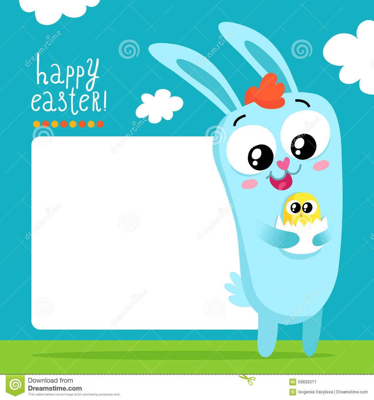 Easter Greeting Card Template With Bunny Holding Egg Stock Vector