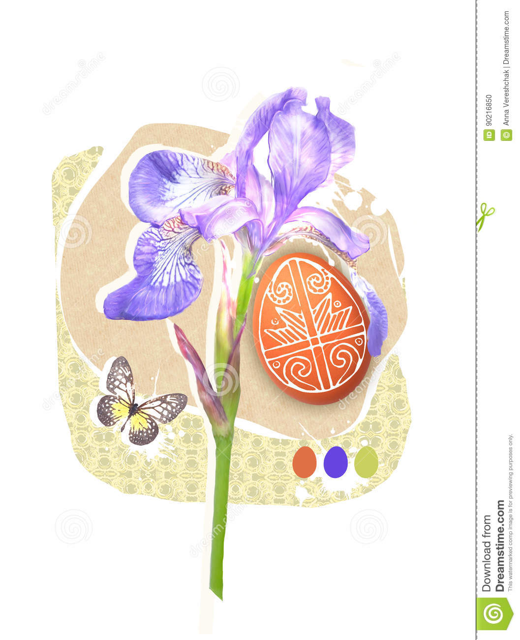 Easter greeting card template with paschal egg butterfly and spring easter greeting card template with paschal egg butterfly and spring iris flower easter design izmirmasajfo