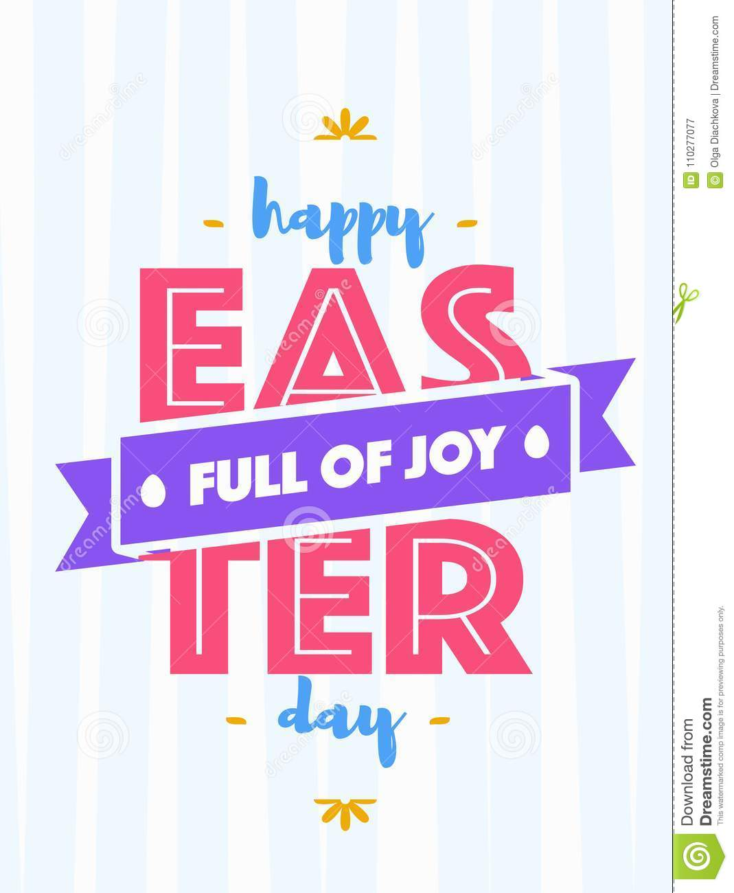 Easter Greeting Card with Wish   Happy Easter Day Full of Joy Cute ...