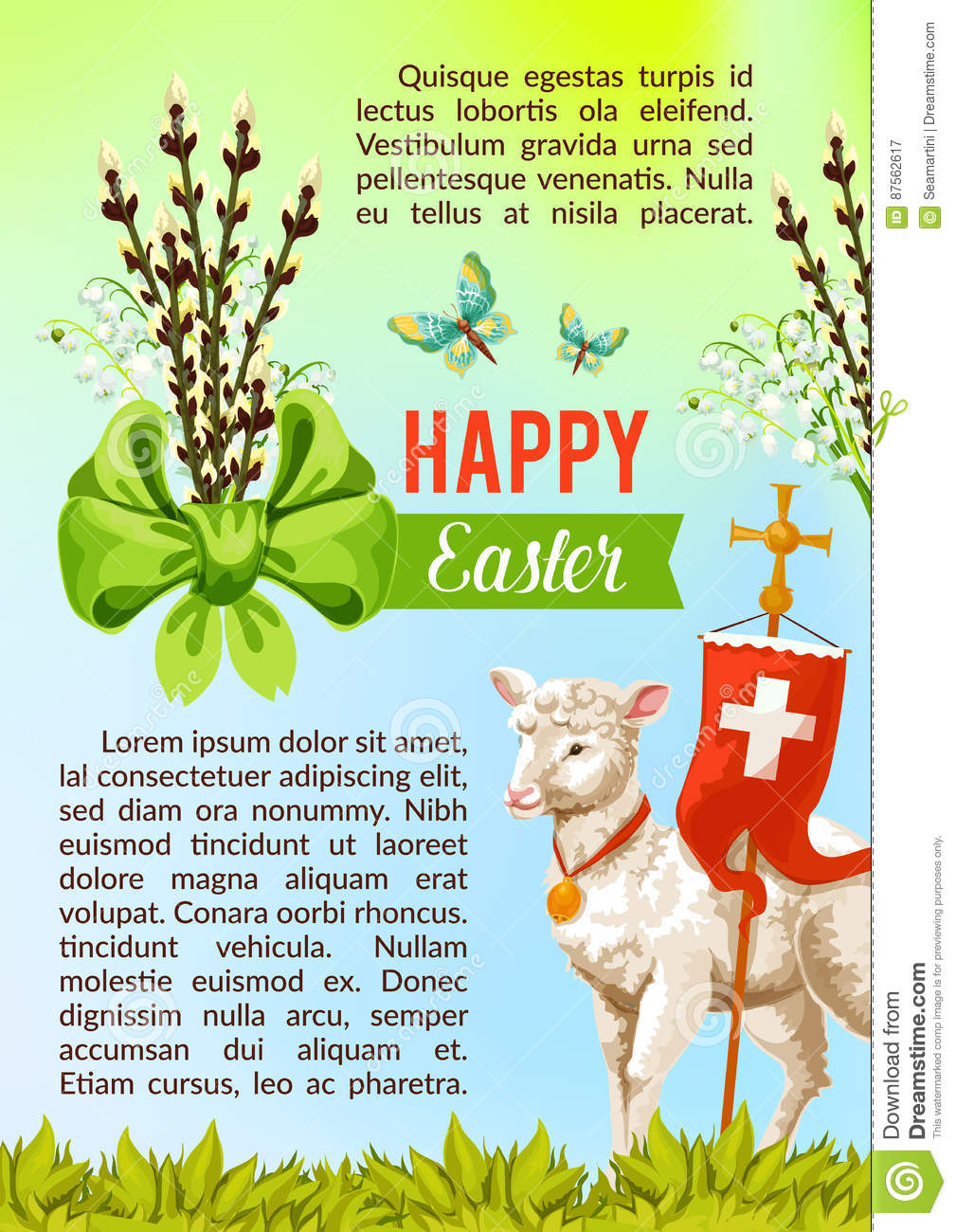 Easter Greeting Vector Poster Paschal Eggs Willow Stock Vector