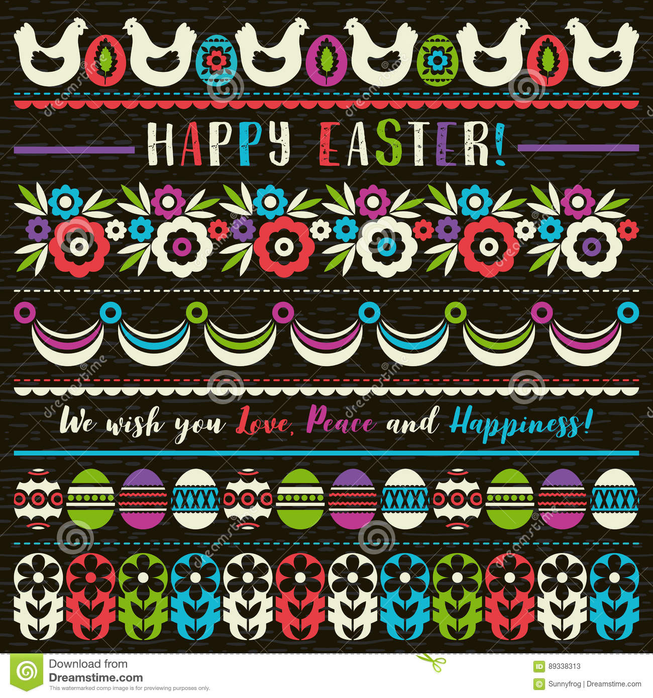 easter greetings cards with color easter eggs flowers and hen