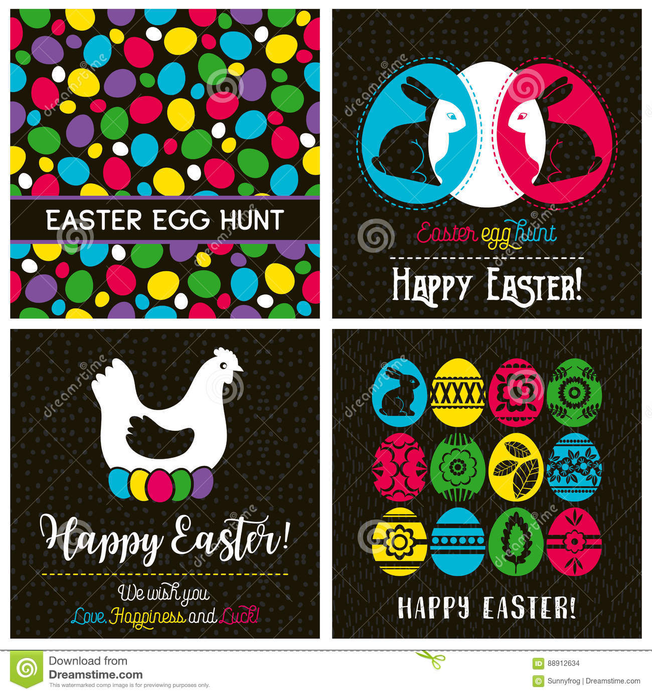 easter greetings cards with color easter eggs hen flowers stock