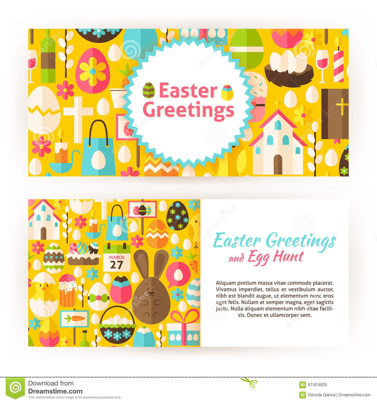 Easter greetings flat style vector templates set stock vector download comp m4hsunfo