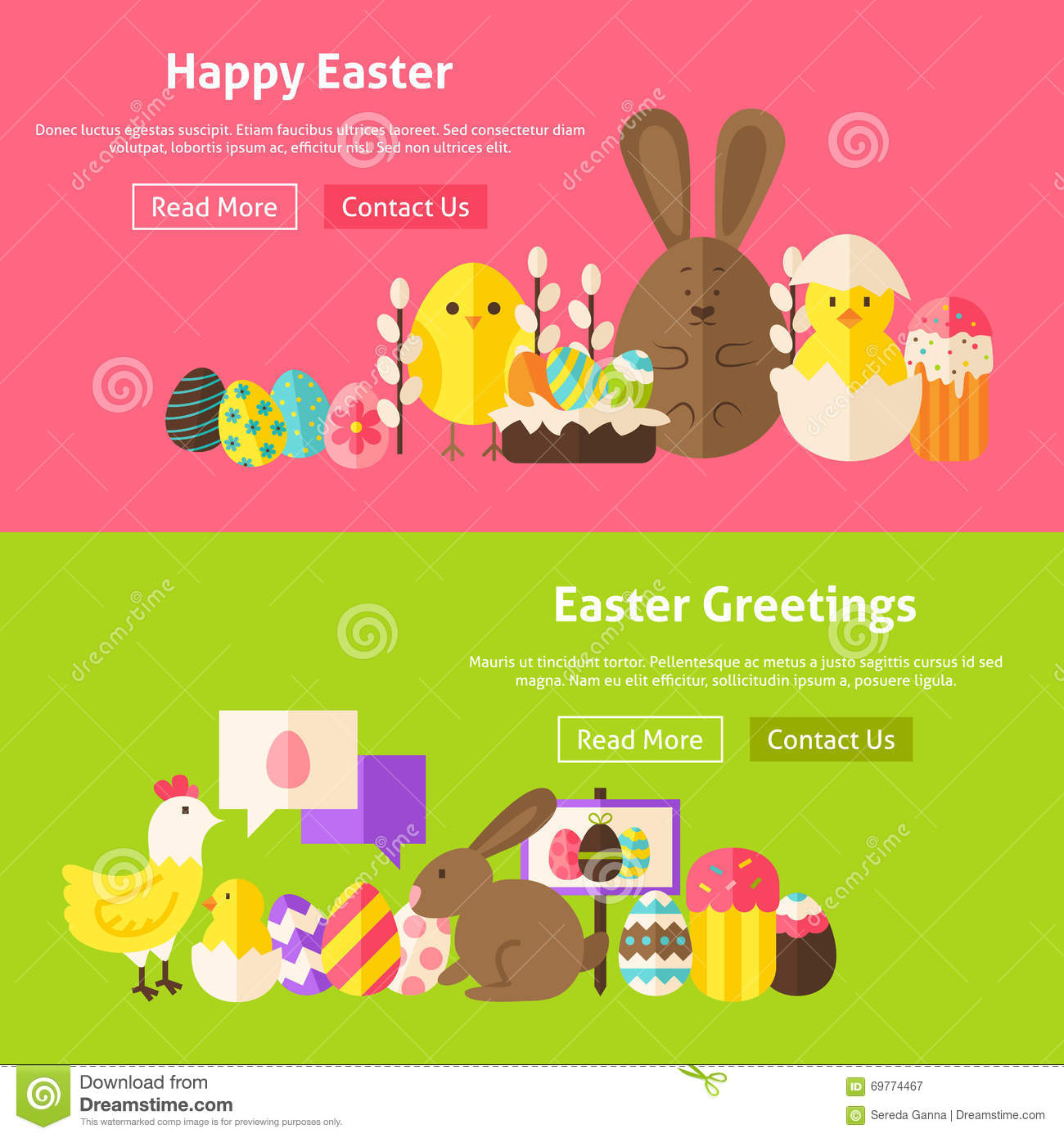 Easter greetings flat website banners set stock vector download easter greetings flat website banners set stock vector illustration of flat eggshell m4hsunfo