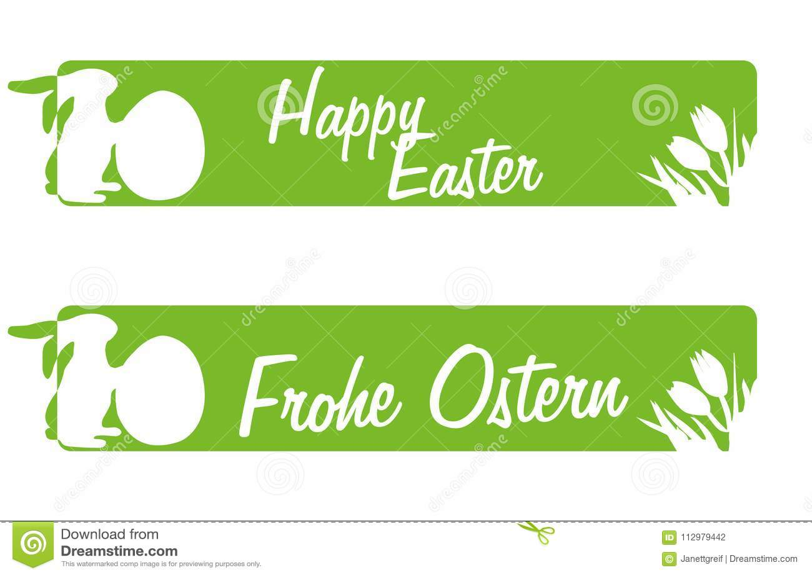 Easter Greetings in green banner Happ Easter