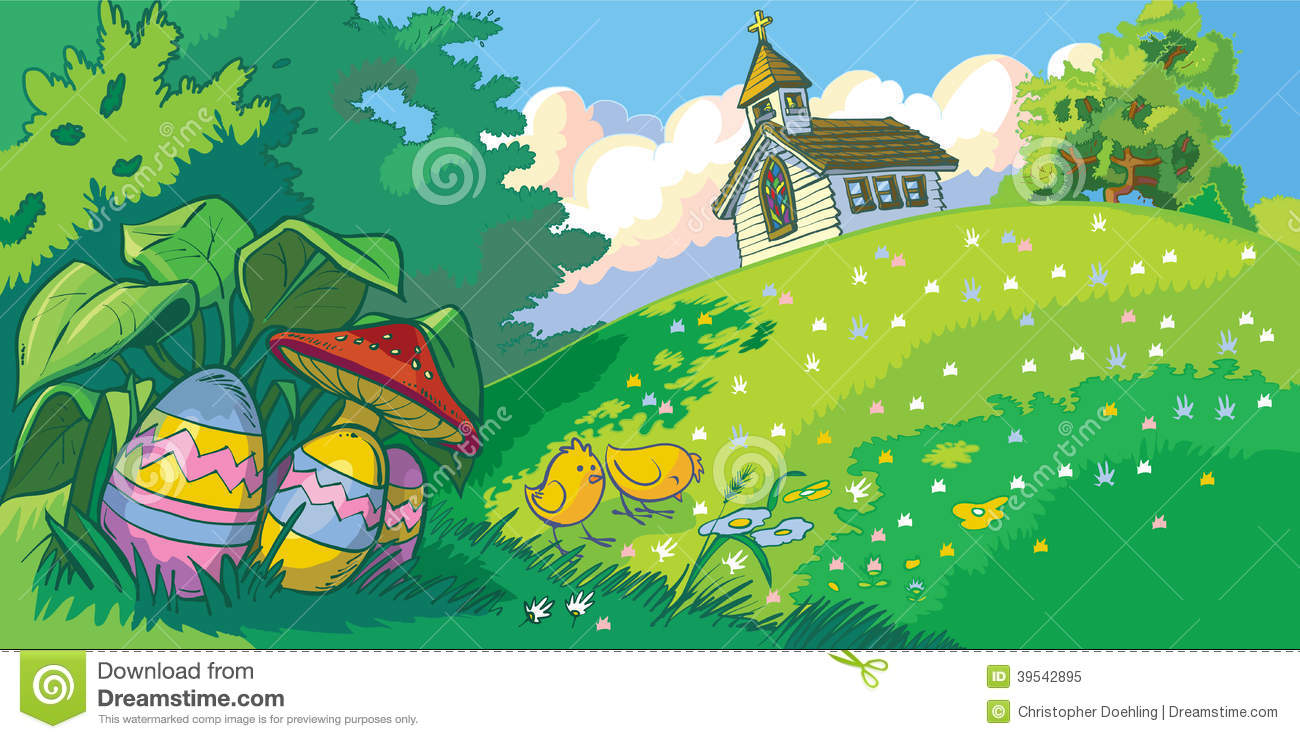 Easter Holiday Landscape Background With Church And Eggs ...