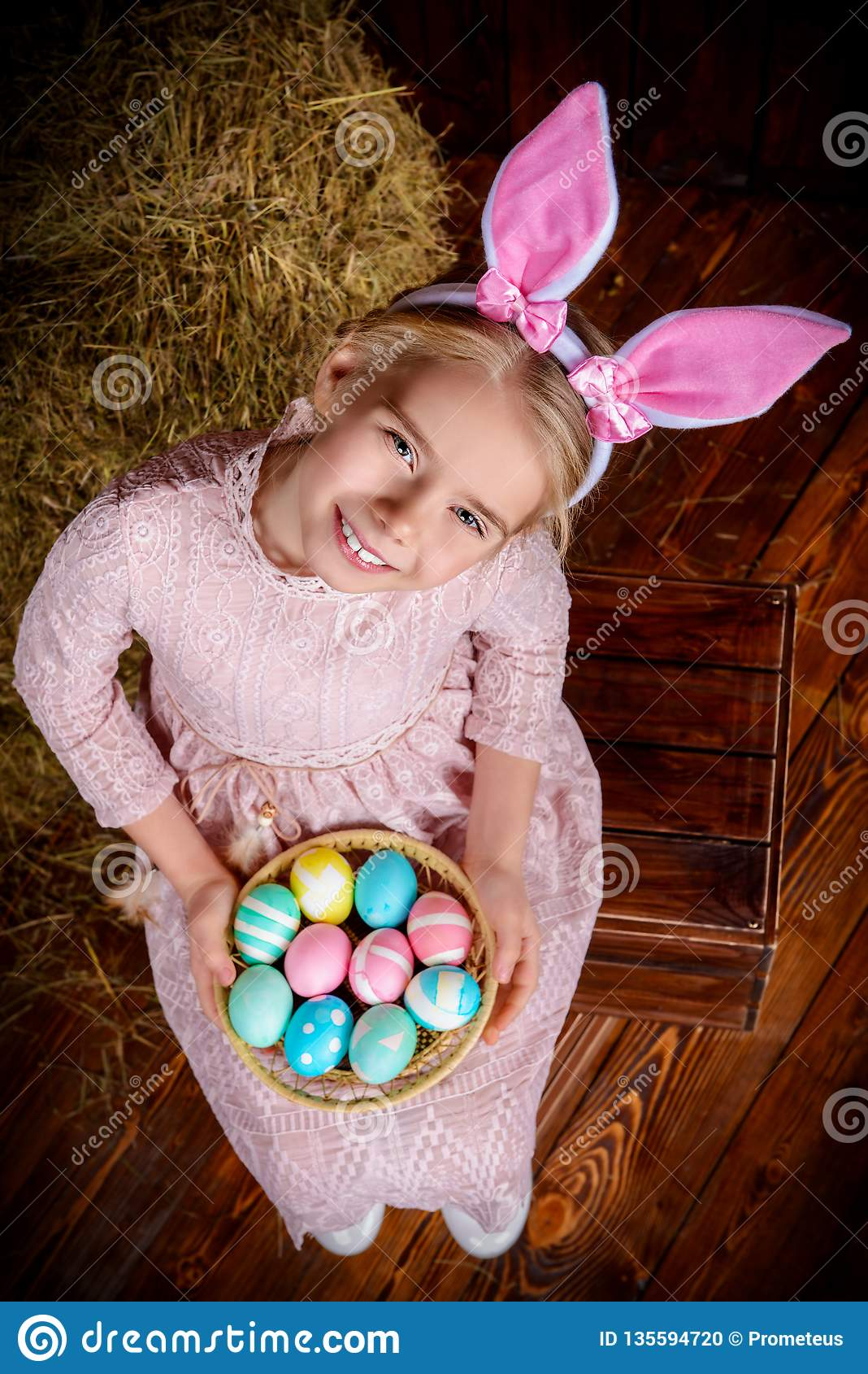 Girl in easter bunny costume